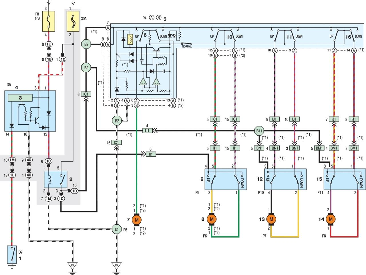 RAV4 (I-поколение) Принципиальная схема.  Стеклоподъемники моделей 1996–1997 гг.